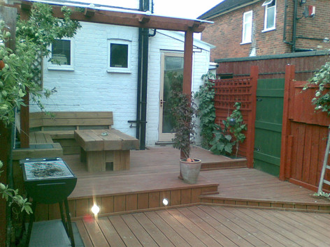 Multi level decking with lighting and furniture, Reading