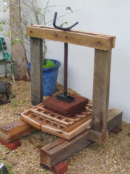 Handmade cider press, Midsomer Norton, Somerset
