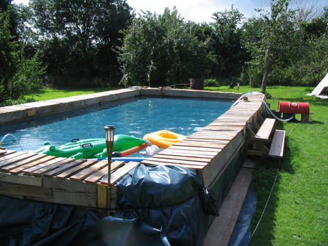 Hay bale, pallet and DPM swimminng pool, Welton, Nr. Bath
