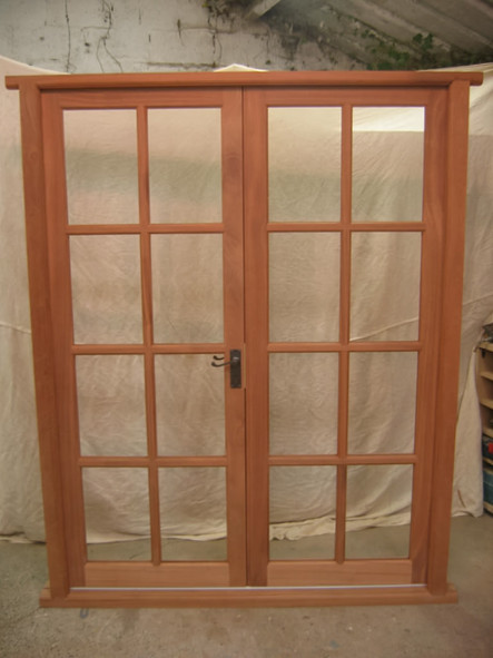 Hardwood terrace doors, Bath