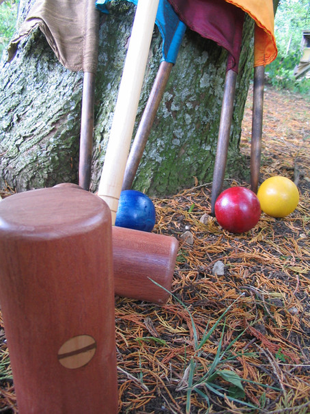 Hand made croquet set, balls and flags, Midsomer Norton