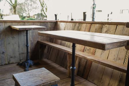 Scaffold plank deck and furniture, Biblos cafe, Bristol