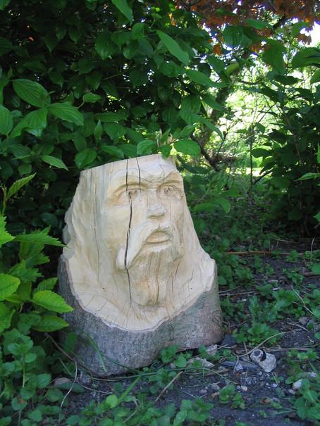 Hand carved tree stump