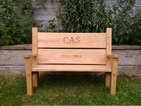 Traditionally joined oak memorial bench, Chew Magna