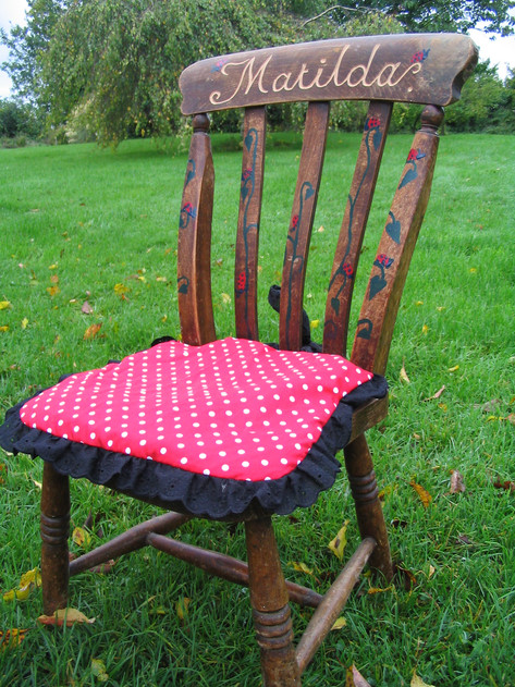 Hand carved, decorated reclaimed chair, Bristol