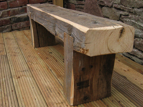Simple reclaimed timber bench, Bristol