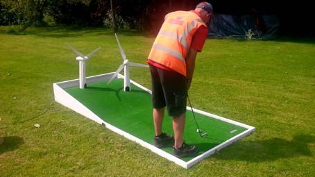 Wind turbine crazy golf for exhibition