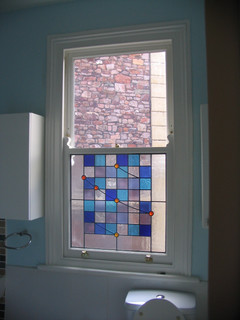 Double glazed, stained glass sash window, Clifton, Bristol