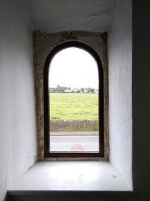Bespoke fixed arched hardwood window, Ston Easton