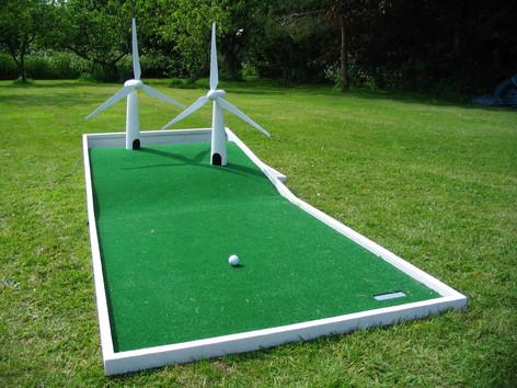Handmade wind turbine crazy golf, Welton, Midsomer Norton