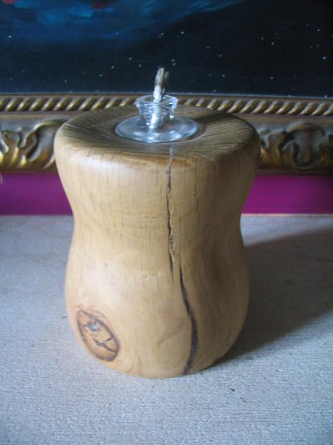 Hand turned oak oil lamp, Welton, Nr. Bath