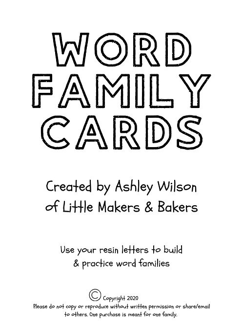 Word Family Cards (digital download)