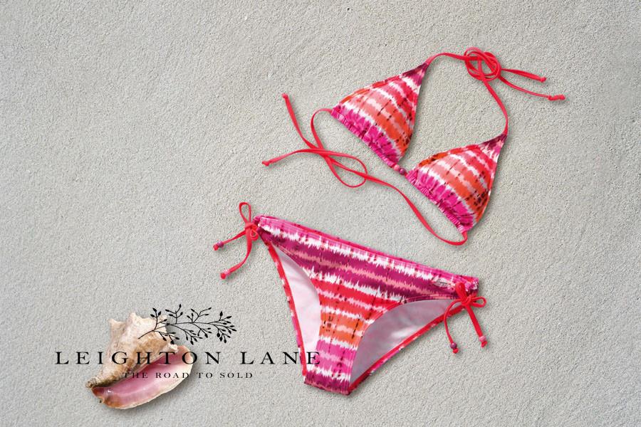 pink bikini, beach, shell