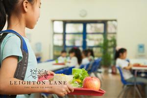 girl in school cafeteria