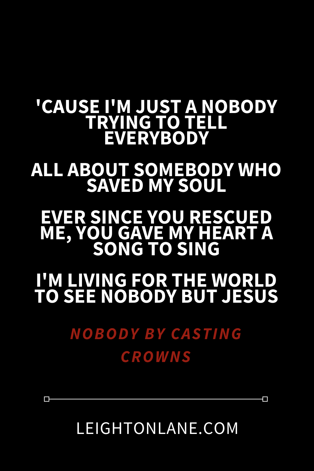 chorus to nobody by casting crowns