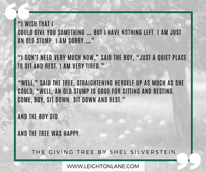 the giving tree quote by shel silverstein