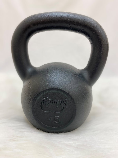45lb. Cast Iron Kettlebell with Machined Flat Bottom
