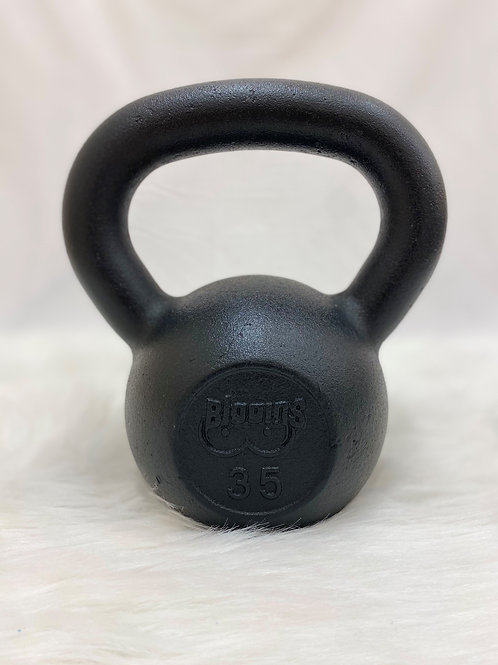 35lb. Cast Iron Kettlebell with Machined Flat Bottom