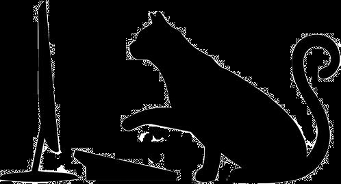 silhouette chat de profil sur un ordinateur