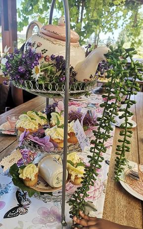 Floral high tea centrepiece
