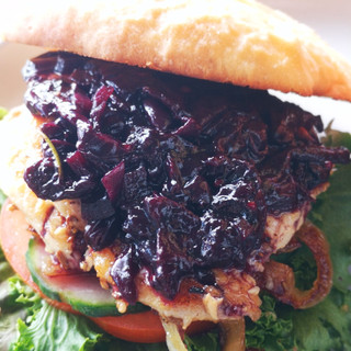 Grape chutney chicken burger