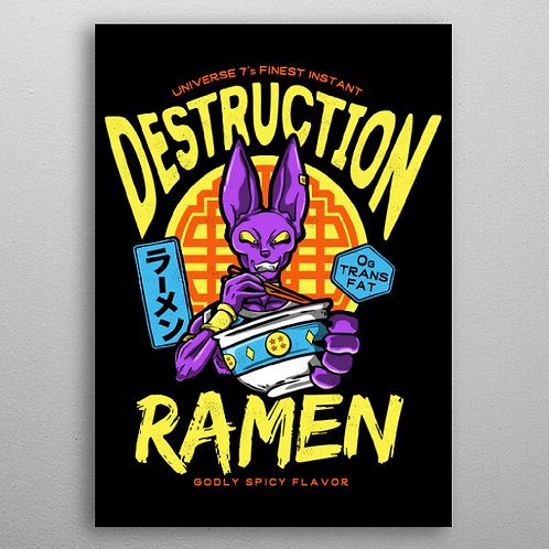 Poster en Métal Destruction Ramen Beerus (Dragon Ball Super) By Displate