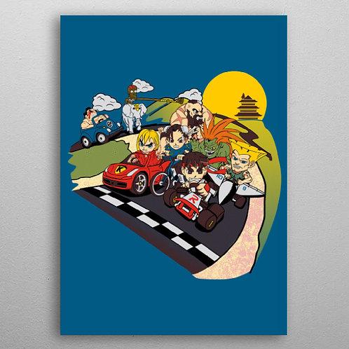 Poster en Métal Super Fighting Karts (Street Fighter) By Displate