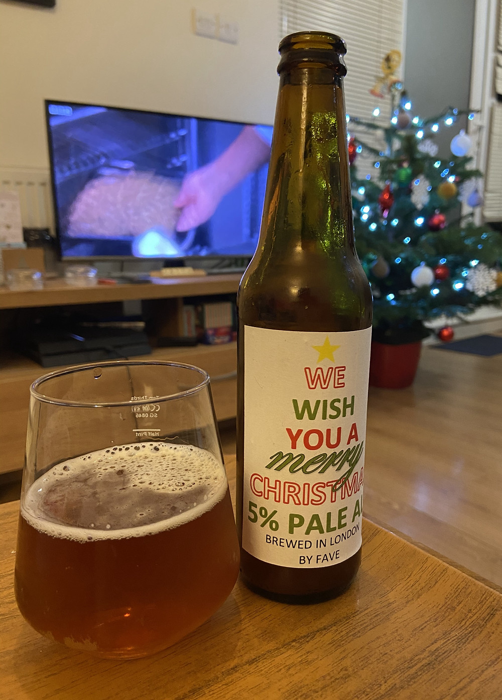 Christmas American pale ale served in a glass