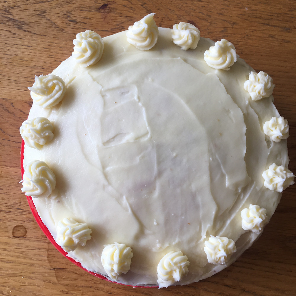 Lemon layer cake view from above