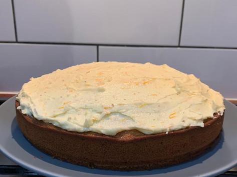 Vanilla and Cardamom Cake with Orange icing