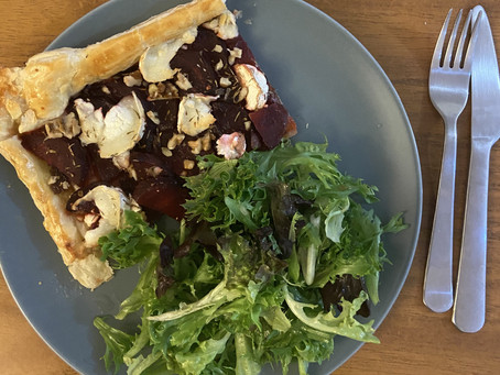 Quick beetroot, goat's cheese & walnut tart recipe