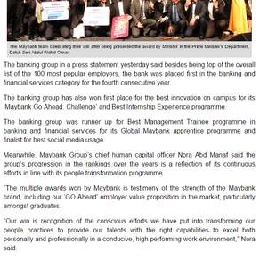 Malaysia's 100 Leading Graduate Employers in Borneo Post Online