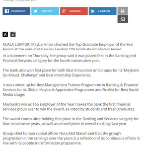 Malaysia's 100 Leading Graduate Employers in The Star Online's Business
