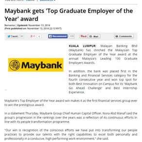 Maybank gets 'Top Graduate Employer of the Year' award - Astro Awani