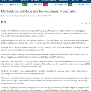Malaysia's 100 Leading Graduate Employers in theedgemarkets.com