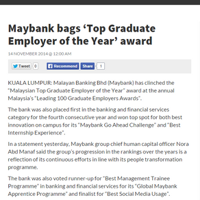 Malaysia's 100 Leading Graduate Employers in New Straits Times Online