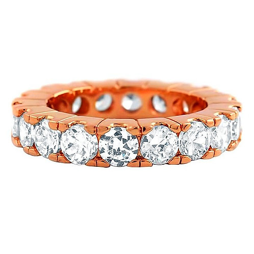 LAB MADE DIAMOND PRONG SET ETERNITY RING ROSE GOLD