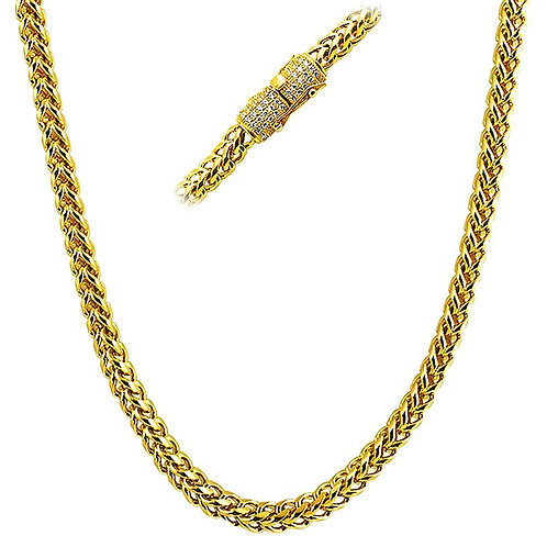ICED OUT CLASP LUXURY 6MM FRANCO CHAIN GOLD