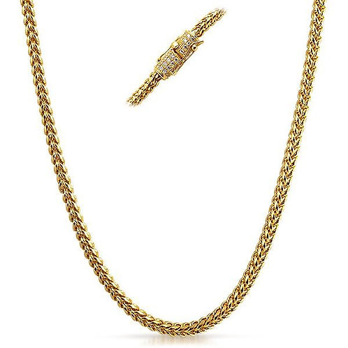 ICED OUT CLASP LUXURY 4MM FRANCO CHAIN GOLD