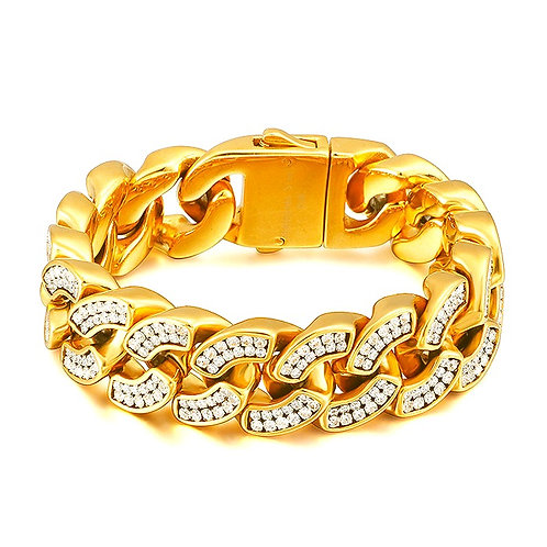 DURABLE MICRO PAVED CUBAN CURB 22MM BRACELET IP GOLD
