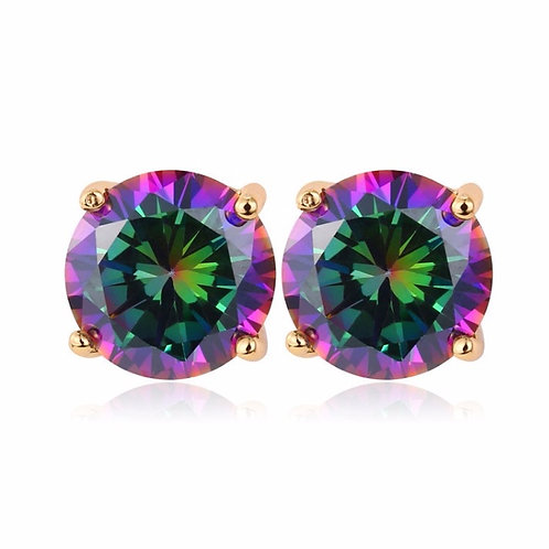 ROUND MYSTIC TOPAZ  2.75 CARAT CZ STUD EARRINGS GOLD