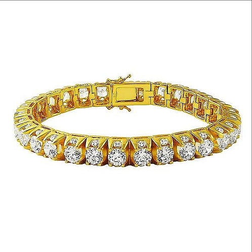 3 SIDED ICED OUT TENNIS BRACELET GOLD