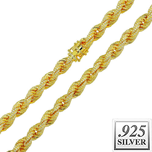 ICE OUT ROPE CHAIN 11MM GOLD