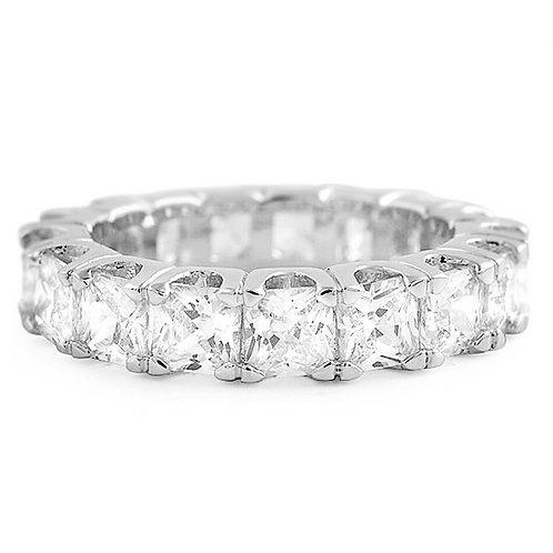 LAB MADE DIAMOND PRINCESS CUT ETERNITY RING PLATINUM