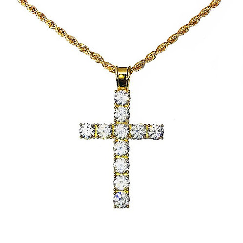 ICED OUT CROSS PENDANT & NECKLACE SET GOLD