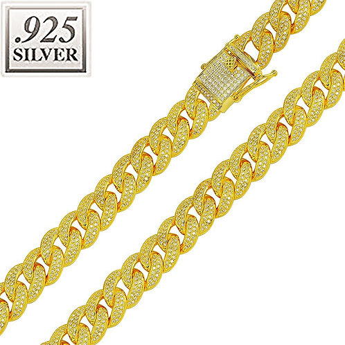 ICED OUT CZ ENCRUSTED MIAMI CUBAN CHAIN 12MM GOLD