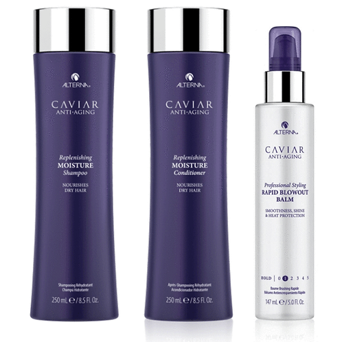 Alterna Caviar Replenishing Moisture 250ml Trio with Rapid Blowout Balm