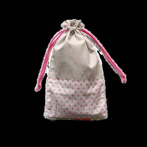 巾着S 3:ドットミニヨン+ピンク