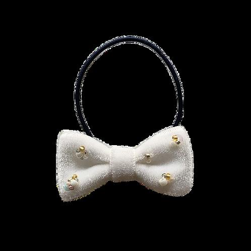 ビーズ刺繍ヘアゴム 4:ホワイト