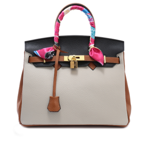 25cm Contrast Leather Tote